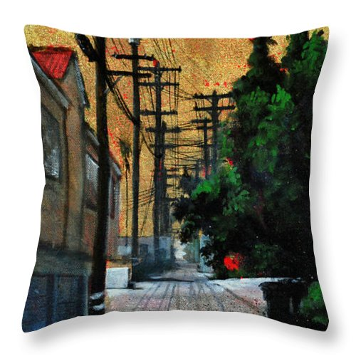 Cityscape Throw Pillow featuring the painting Golden Skies No. 3 by Duke Windsor