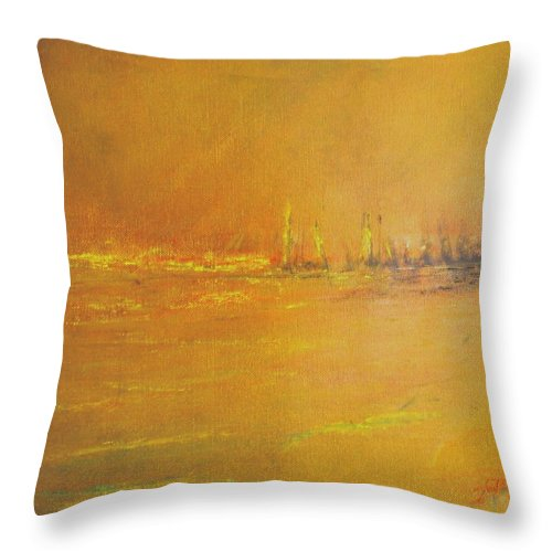 Ships Throw Pillow featuring the painting Golden Sky by Jack Diamond