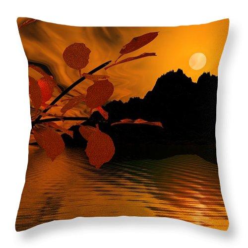 Landscape Throw Pillow featuring the digital art Golden Slumber Fills My Dreams. by David Lane
