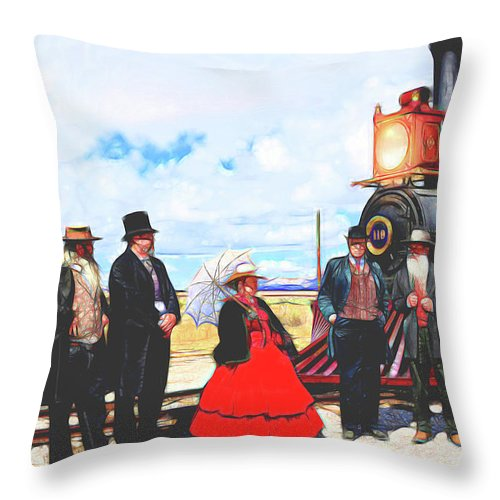 Golden Spike Railroad Throw Pillow featuring the photograph Golden Spike Railroad - Wating - 0749 G by Image Takers Photography LLC