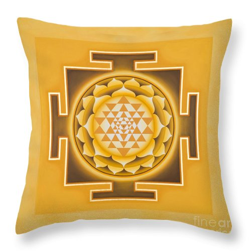 Shri Yantra Throw Pillow featuring the painting Golden Sri Yantra - The Original by Piitaa - Sacred Art