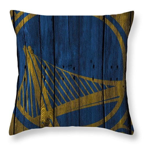 Warriors Throw Pillow featuring the photograph Golden State Warriors Wood Fence by Joe Hamilton