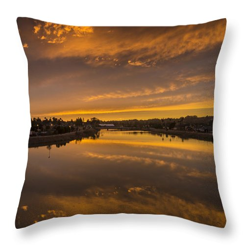 Sunset Throw Pillow featuring the photograph Golden Sundown Reflected by Bruce Frye