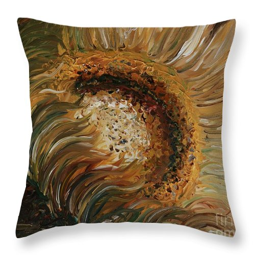 Sunflower Throw Pillow featuring the painting Golden Sunflower by Nadine Rippelmeyer
