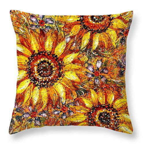 Sunflowers Throw Pillow featuring the painting Golden Sunflower by Natalie Holland