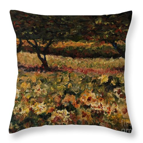 Landscape Throw Pillow featuring the painting Golden Sunflowers by Nadine Rippelmeyer