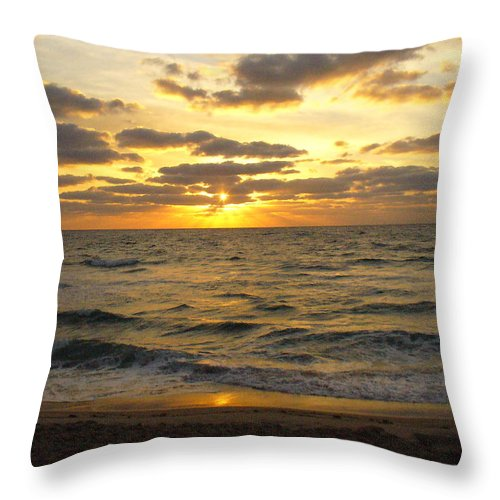 Seahsore Throw Pillow featuring the photograph Golden Sunrise by Peggy King