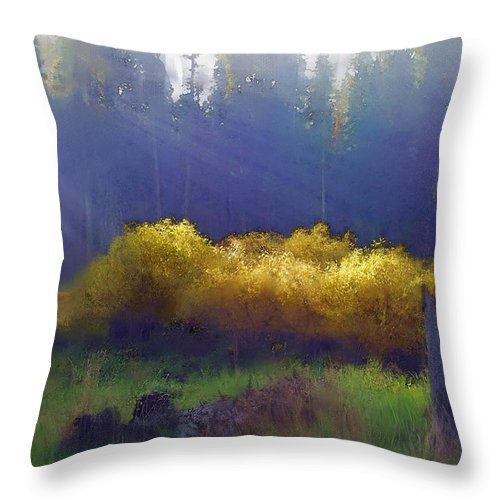 Landscape Throw Pillow featuring the painting Golden Surprise by Stephen Lucas