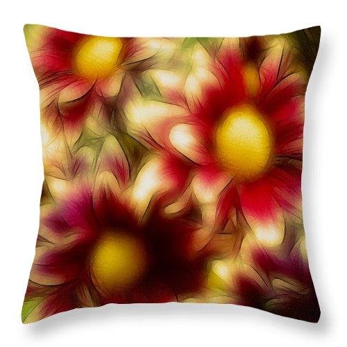 Flowers Floral Daisy Red Yellow Gold Golden Susan Epps Oliver Original Throw Pillow featuring the photograph Golden by Susan Epps Oliver