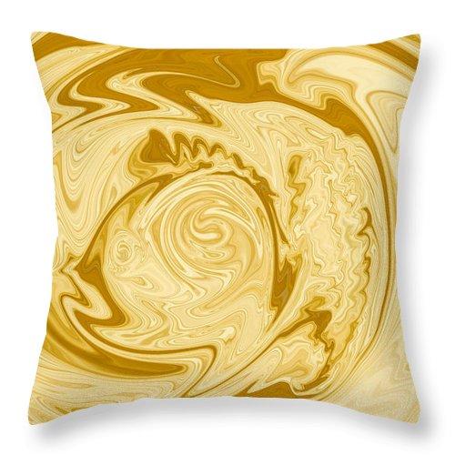 Golden Throw Pillow featuring the digital art Golden Swirl by Nielda Sanford