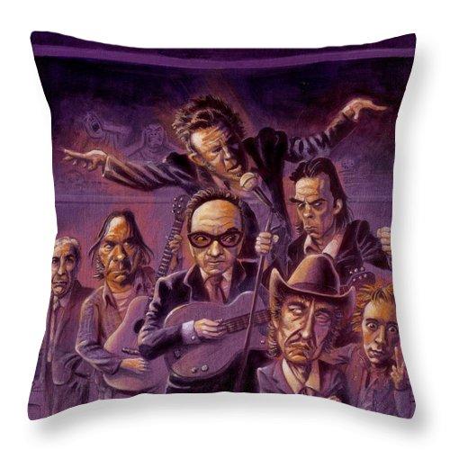 Leonard Cohen Throw Pillow featuring the painting Golden Throats by Ken Meyer jr