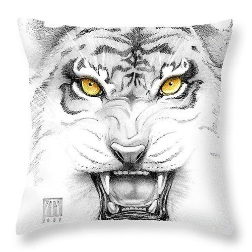 Amber Throw Pillow featuring the digital art Golden Tiger Eyes by Melissa A Benson