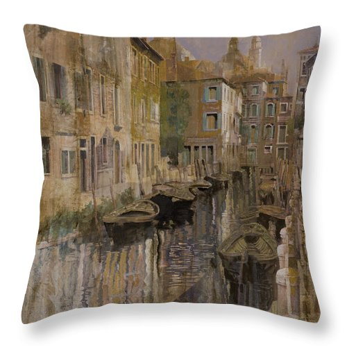 Venice Throw Pillow featuring the painting Golden Venice by Guido Borelli