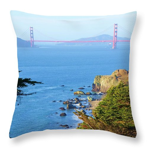 Golden Gate Bridge Throw Pillow featuring the photograph Golden View 142 by Remegio Dalisay
