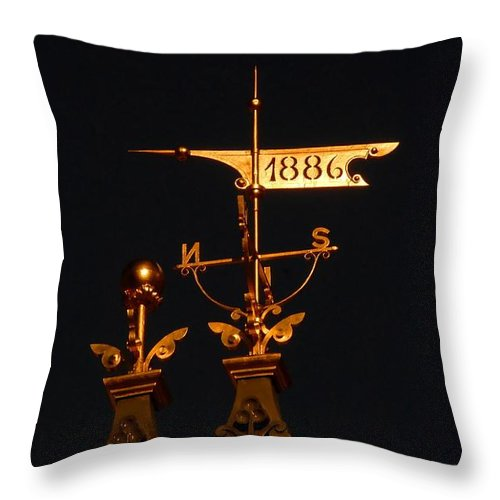 Wind Vain Throw Pillow featuring the photograph Golden Wind Vain by David Lee Thompson