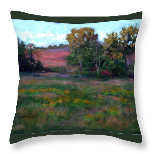 Autumn Landscape... Afternoon Throw Pillow featuring the painting Goldenrod Afternoon by Julie Mayser