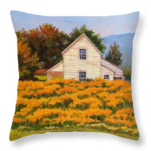 Impressionism Throw Pillow featuring the painting Goldenrod Time by Keith Burgess