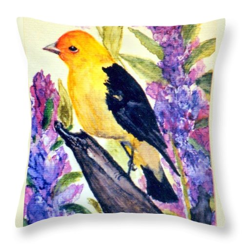 Birds Throw Pillow featuring the painting Goldfinch by Gail Kirtz