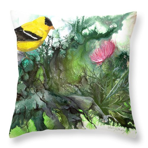 Bird Throw Pillow featuring the painting Goldfinch by Sherry Shipley