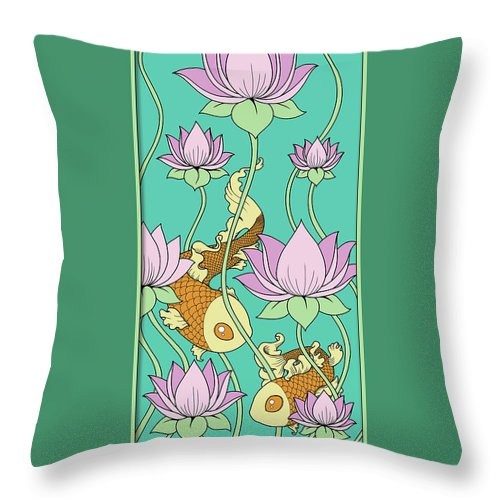 Goldfish Throw Pillow featuring the digital art Goldfish And Lotus by Eleanor Hofer