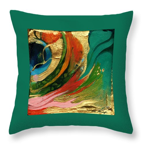 Lin Petershagen Throw Pillow featuring the painting Goldy by Lin Petershagen