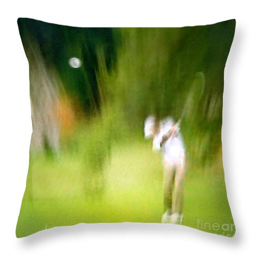 Golf Throw Pillow featuring the painting Golf At The Blue Monster In Doral Florida 01 by Miki De Goodaboom