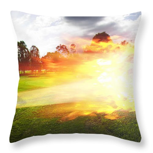 Vacation Throw Pillow featuring the photograph Golf Ball On Fire by Jorgo Photography - Wall Art Gallery