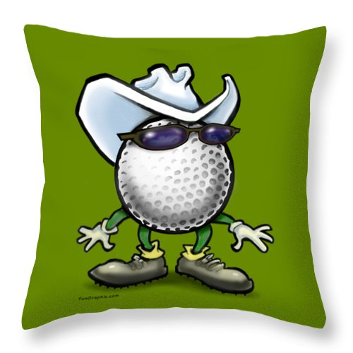 Golf Throw Pillow featuring the digital art Golf Cowboy by Kevin Middleton