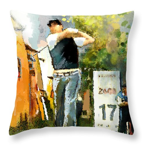 Golf Throw Pillow featuring the painting Golf In Club Fontana Austria 01 Dyptic Part 01 by Miki De Goodaboom