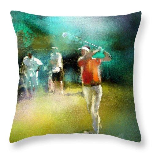 Golf Painting Golfer Sport Pga Tour Club Fontana Vienna Austria Austria Open Throw Pillow featuring the painting Golf In Club Fontana Austria 03 by Miki De Goodaboom