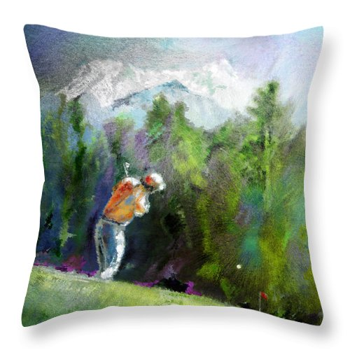 Golf Throw Pillow featuring the painting Golf In Crans Sur Sierre Switzerland 02 by Miki De Goodaboom