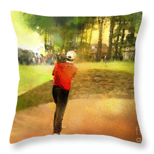 Golf Throw Pillow featuring the painting Golf In Scotland Saint Andrews 01 by Miki De Goodaboom