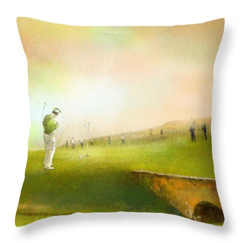 Golf Throw Pillow featuring the painting Golf In Scotland Saint Andrews 02 by Miki De Goodaboom
