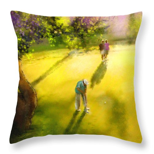 Golf Throw Pillow featuring the painting Golf In Spain Castello Masters 01 by Miki De Goodaboom