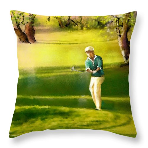 Sports Throw Pillow featuring the painting Golf In Spain Castello Masters 02 by Miki De Goodaboom