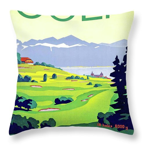 Golf Throw Pillow featuring the digital art Golf, Lausanne, Switzerland, Travel Poster by Long Shot