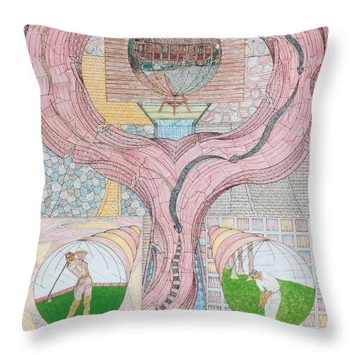 Fortune Teller Throw Pillow featuring the mixed media Golf Scene by Robert Robbins