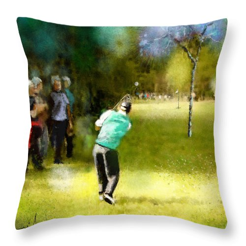 Golf Throw Pillow featuring the painting Golf Vivendi Trophy In France 02 by Miki De Goodaboom