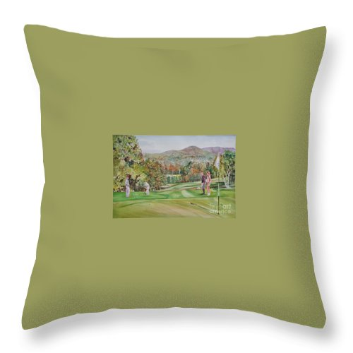 Golf Throw Pillow featuring the painting Golfing In Vermont by P Anthony Visco