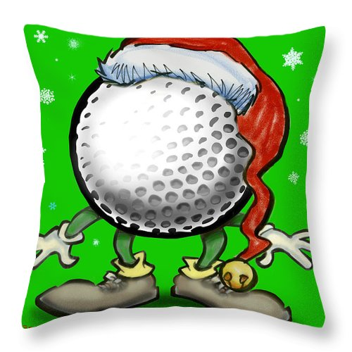 Golf Throw Pillow featuring the greeting card Golfmas by Kevin Middleton