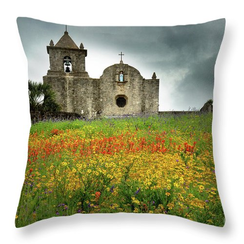 Landscape Throw Pillow featuring the photograph Goliad In Spring by Jon Holiday