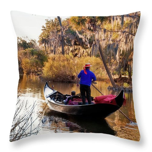 Gondola Throw Pillow featuring the photograph Gondola In City Park Lagoon New Orleans by Kathleen K Parker