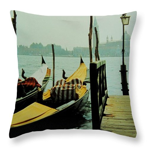 Venice Throw Pillow featuring the photograph Gondolas by Ian MacDonald