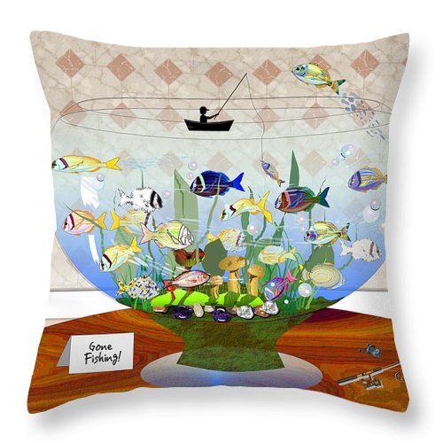 Fish Throw Pillow featuring the digital art Gone Fishing by Arline Wagner