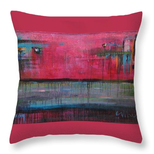 Abstract Throw Pillow featuring the painting Gone by Laurie Maves ART