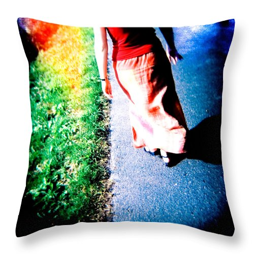 Color Photograph Holga Throw Pillow featuring the photograph Gone by Olivier De Rycke