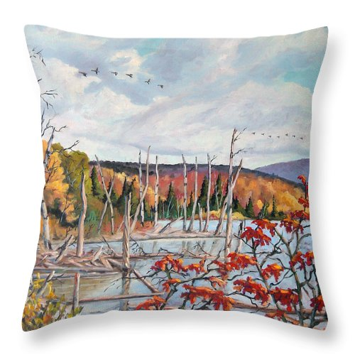 Original Painting Throw Pillow featuring the painting Gone South by Richard T Pranke