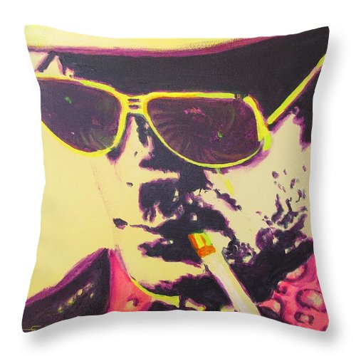 Hunter S. Thompson Throw Pillow featuring the painting Gonzo - Hunter S. Thompson by Eric Dee