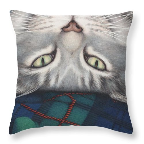 Cat Throw Pillow featuring the drawing Goobie - A Boy And His Toy by Amy S Turner