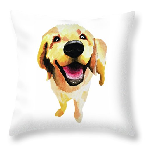 Dog Throw Pillow featuring the painting Good Boy by Amy Giacomelli